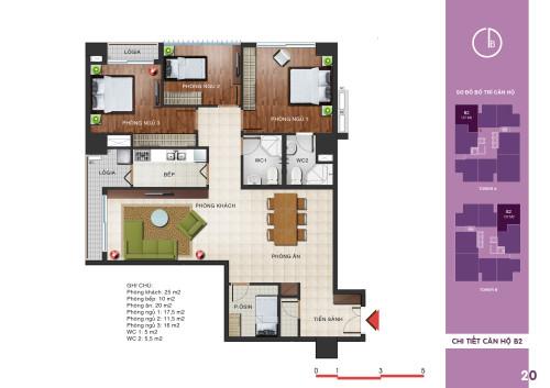 Mặt bằng căn số 5 chung cư N04 T1 Ngoại Giao Đoàn
