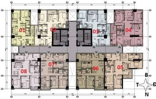 Mặt bằng căn hộ số 8 Chung cư NO1-T3 Ngoại giao đoàn