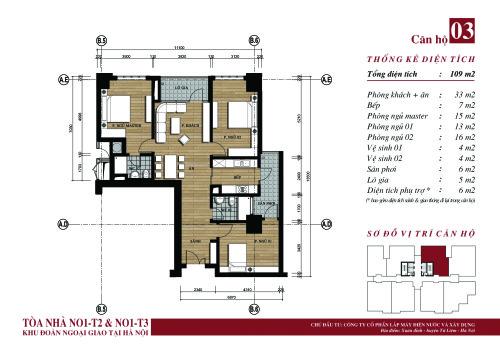 Tòa chung cư N01-T3 Ngoại Giao Đoàn phòng ngủ rộng